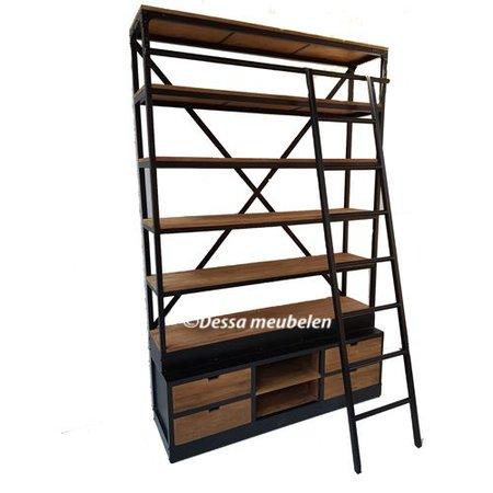 teak-boekenkast-bien-met-ladder